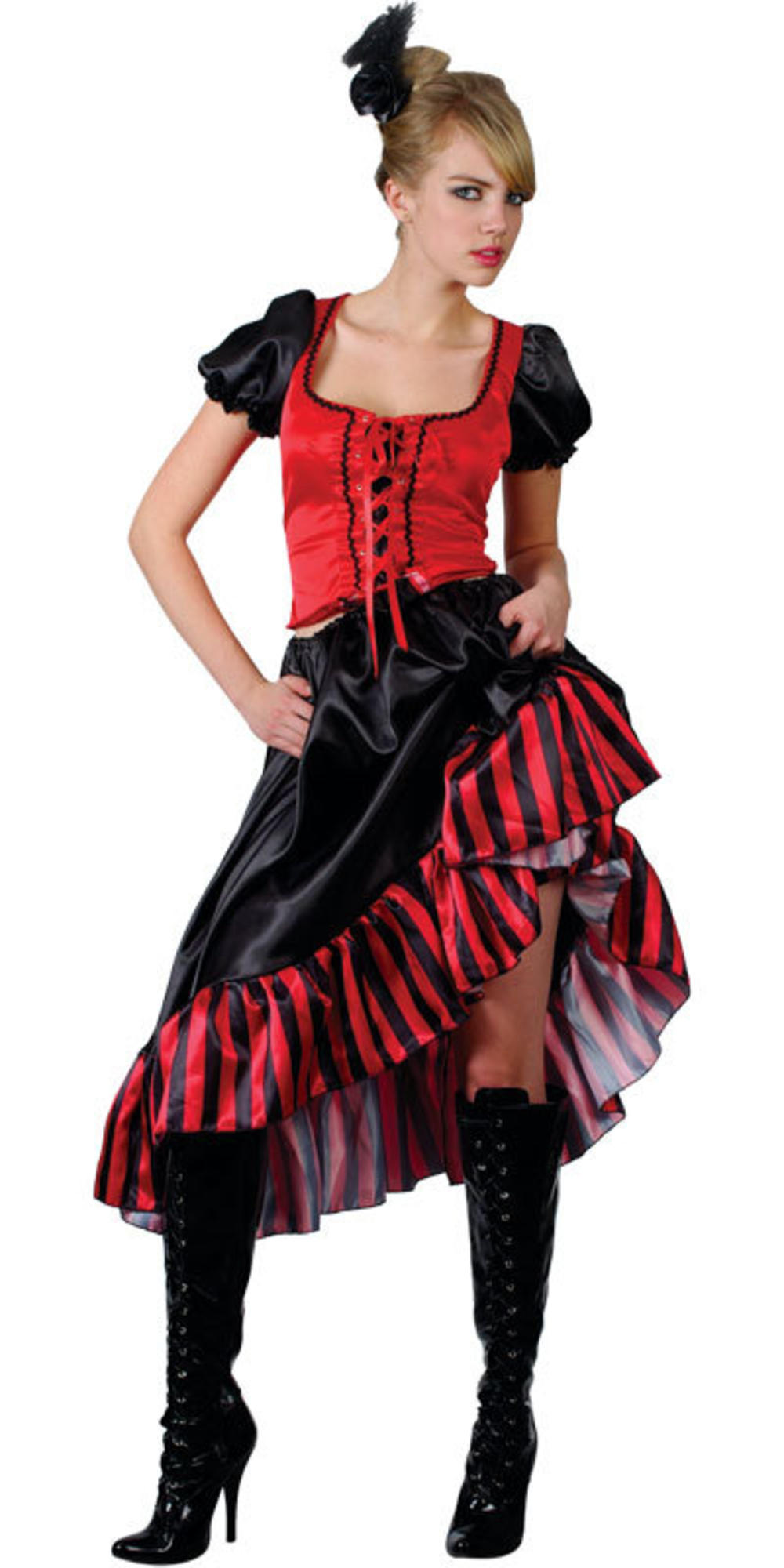 Saloon Girl Ladies Fancy Dress Burlesque Showgirl 20s Red Can Can Adults Costume