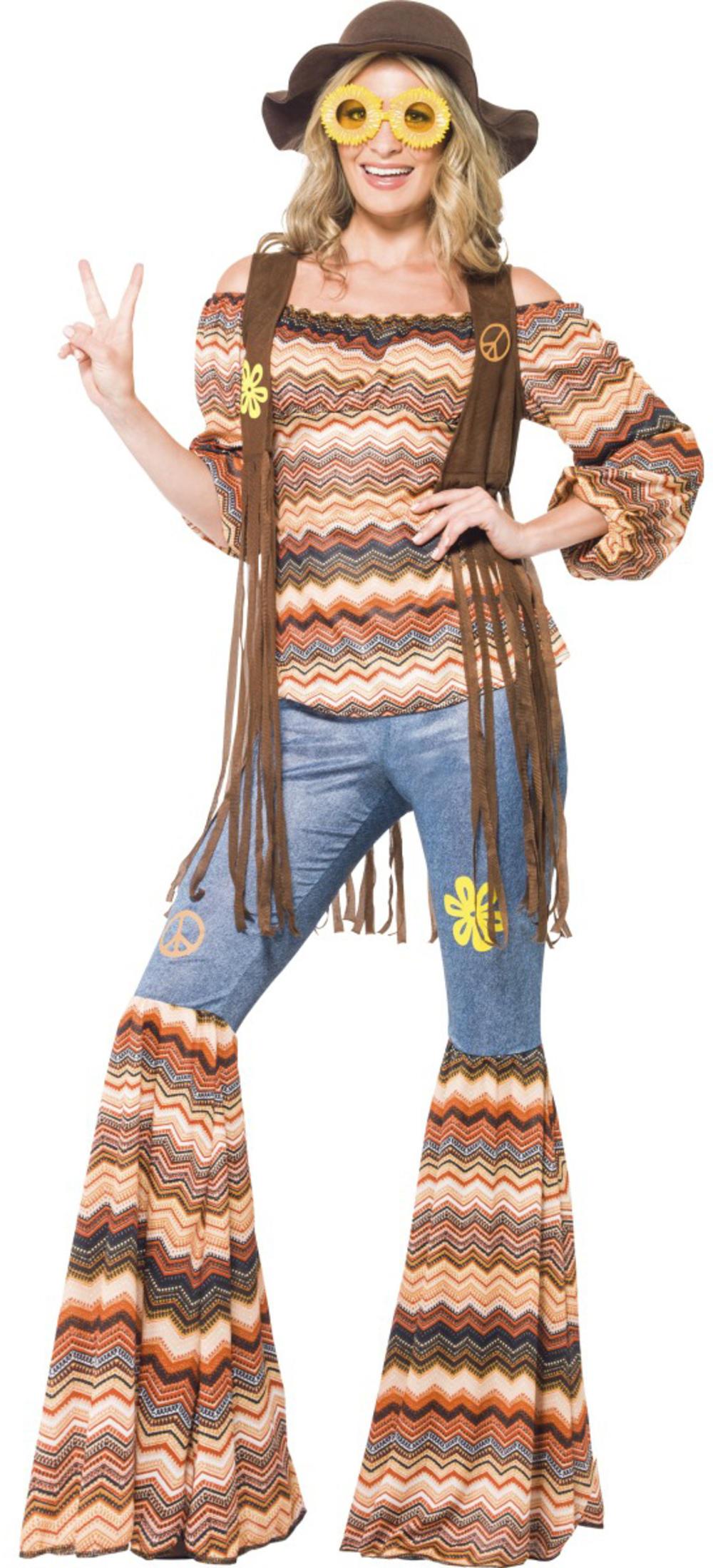 Harmony Hippie Ladies Fancy Dress 1960s 1970s Groovy Hippy Womens Adults Costume