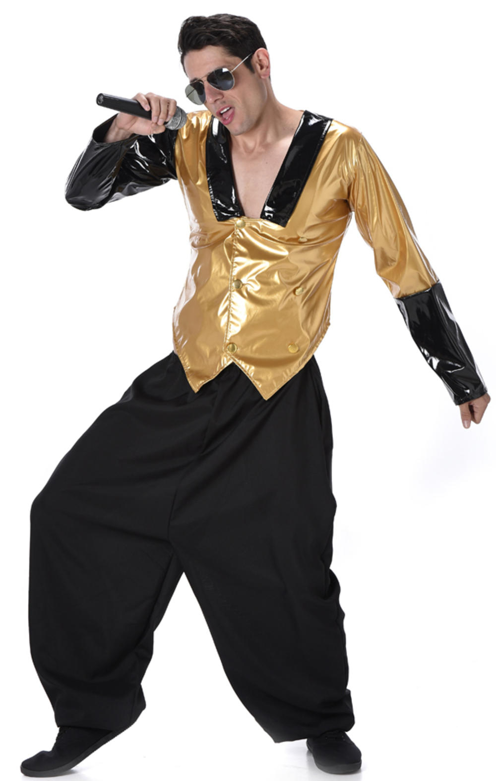 80s Rapper Mens Fancy Dress 1980s MC Hammer Hip Hop Rap Celebrity Adults Costume