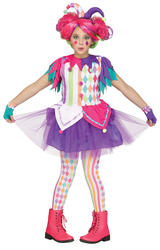 Rainbow Harlequin Girls Fancy Dress Carnival Teens Jester Kids Childrens Costume