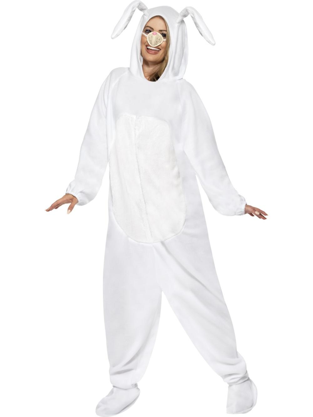 Rabbit Adults Fancy Dress Easter Bunny Animal Farm Mens Ladies Costume Outfit