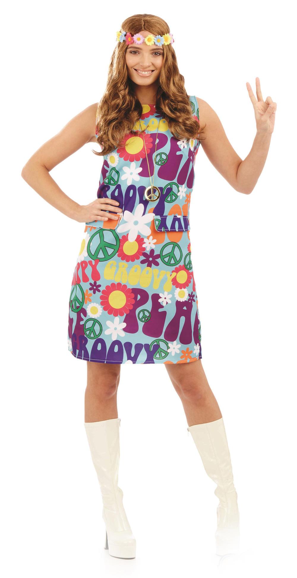 Groovy Hippie Ladies Fancy Dress 1970s 70s Peace Hippy Womens Adults Costume New