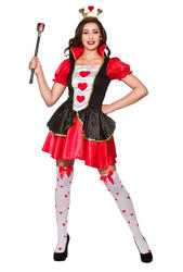 Queen Of Hearts Ladies Fancy Dress Fairy Tale Wonderland Adults Book Day Costume