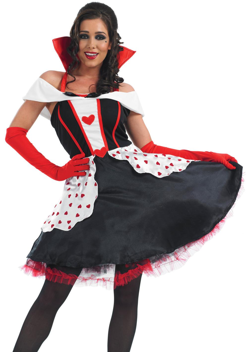 Queen of Hearts Longer Length Ladies Fancy Dress Womens Adult Fairytale Costume