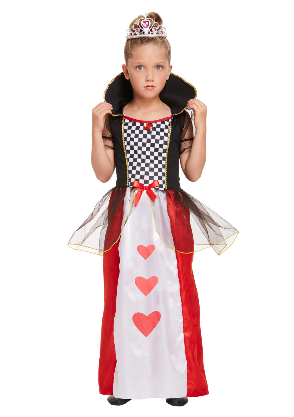 Queen Of Hearts Girls Fancy Dress Kids Fairytale World Book Day Childs Costume