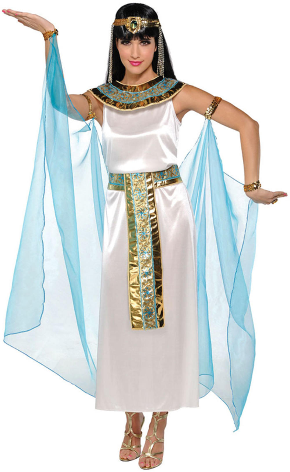 Cleopatra Ladies Fancy Dress Egyptian Queen Goddess Adults Historical Costume