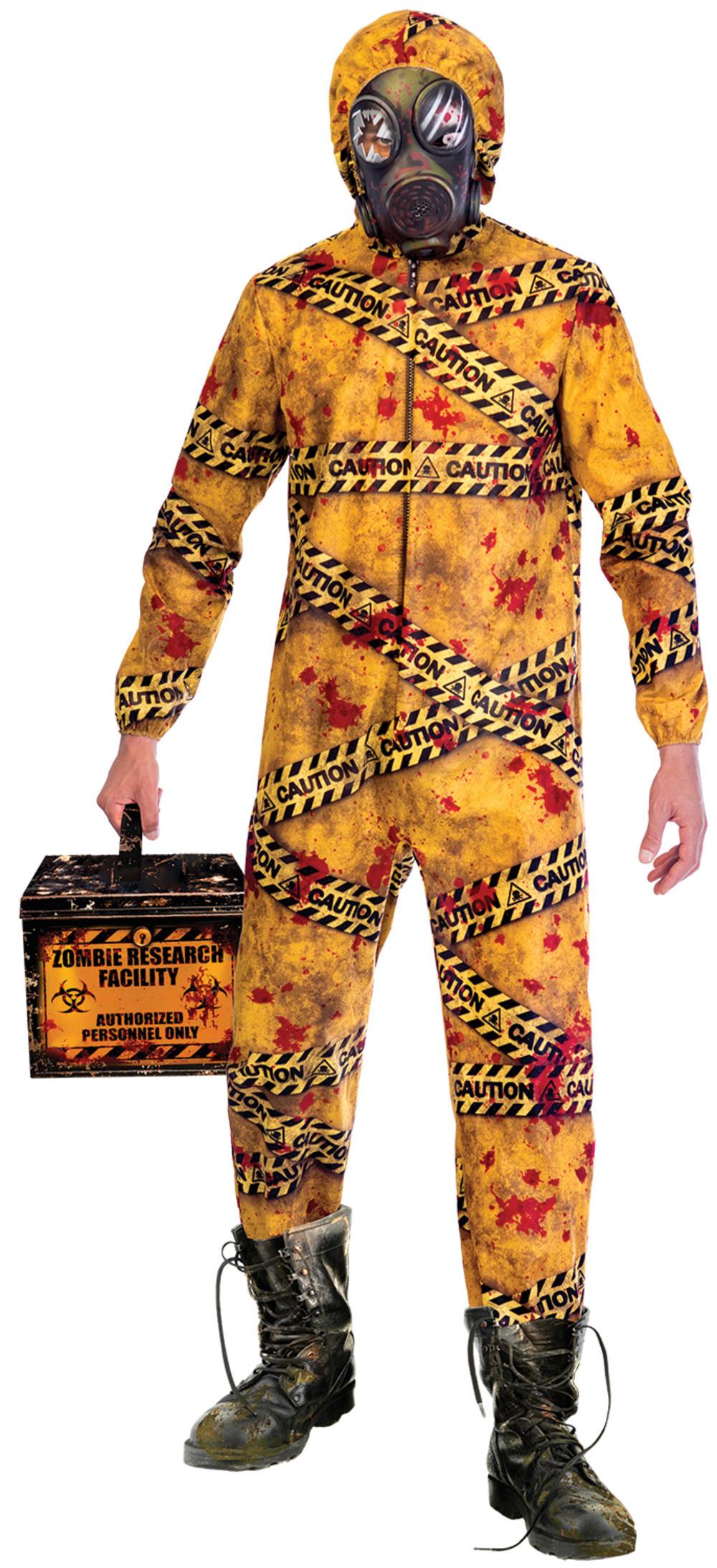 Quarantine Zombie Mens Fancy Dress Undead Radioactive Caution Adults Costume New