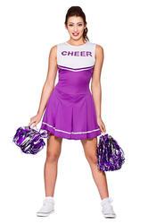 High School Cheerleader Ladies Fancy Dress Purple Sports Team Adults Costume