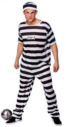 Prisoner Convict Mens Fancy Dress Prison Inmate Robber Adults Halloween Costume