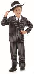Little Gangster Boys Fancy Dress Mafia Mob Boss 1920s Kids Childs Costume Suit