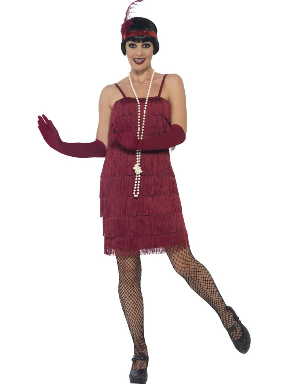 Burgundy Flapper Ladies Fancy Dress 20s Jazz Charleston Womens Adult Costume New