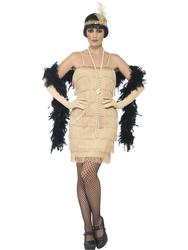 Gold Flapper Ladies Fancy Dress 1920s Charleston Jazz Dance Womens Adult Costume
