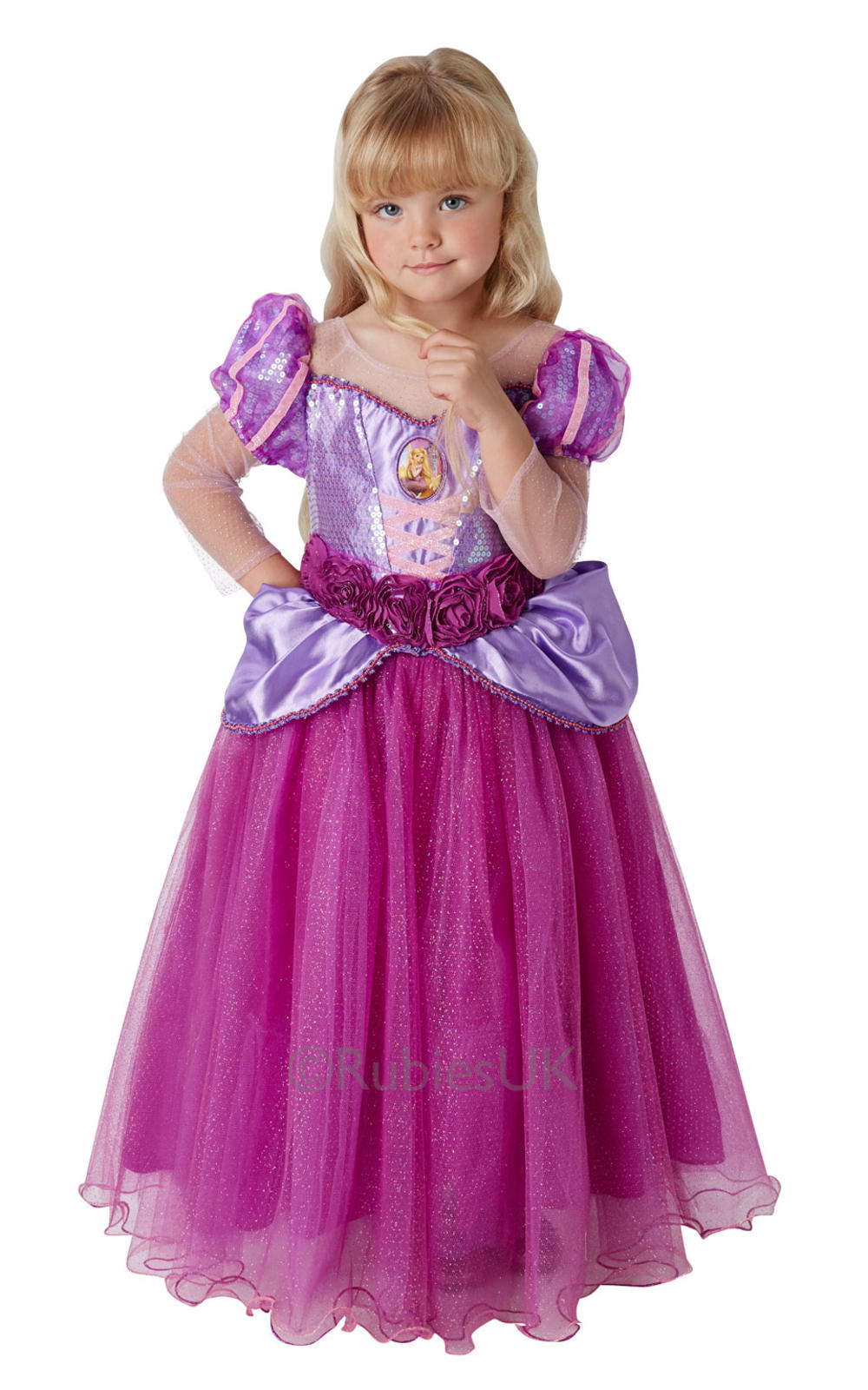 Premium Rapunzel Girls Fancy Dress Tangled Disney Princess Kids Costume Outfit