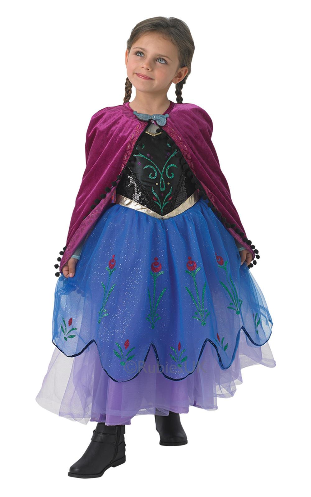 Princess Anna Girls Fancy Dress Disney Frozen Fairy Tale Deluxe Kids Costume