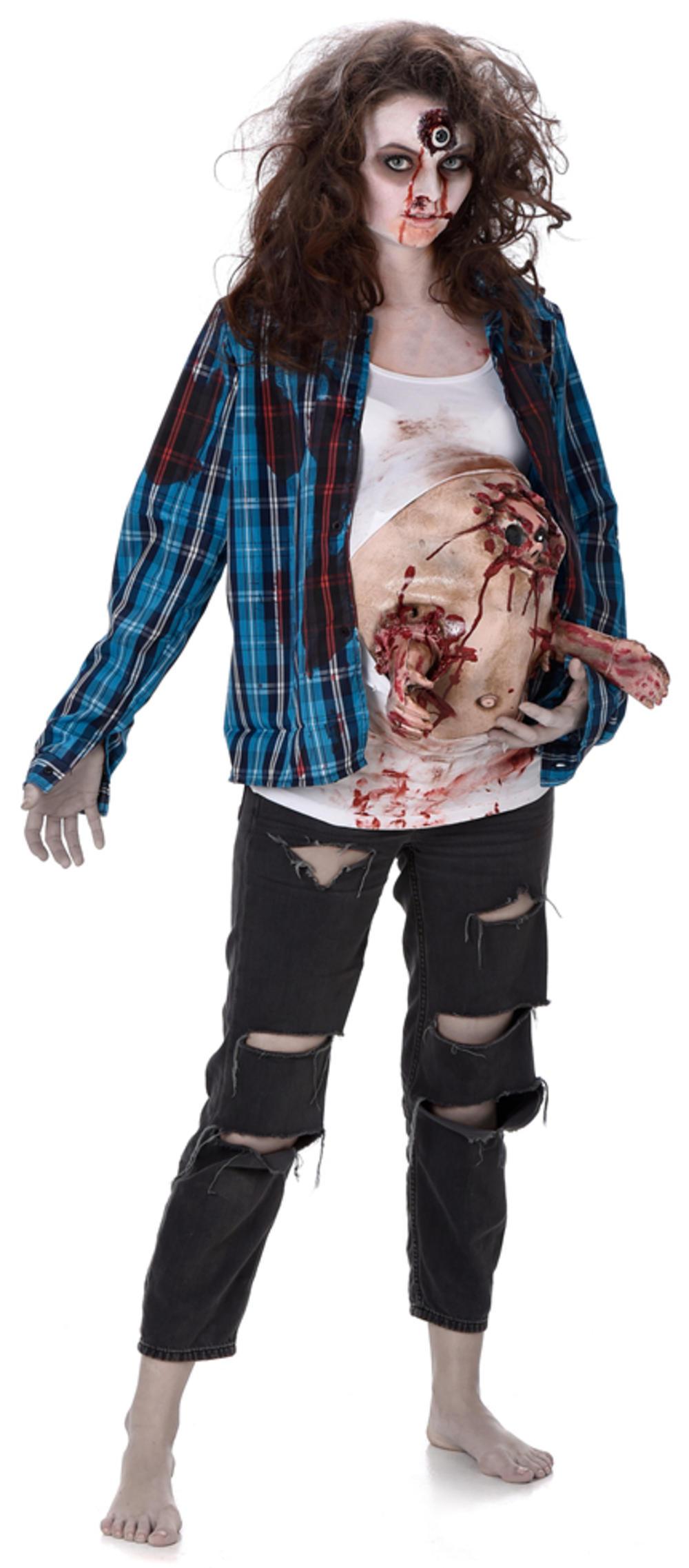 Deluxe Pregnant Zombie Baby Hands Ladies Fancy Dress Halloween Womens Costume