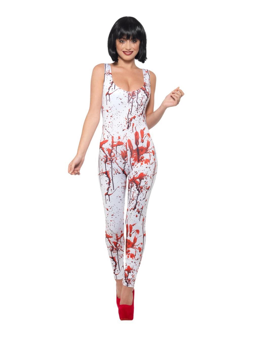 Fever Blood Splatter Ladies Fancy Dress Halloween Zombie Catsuit Adults Costume