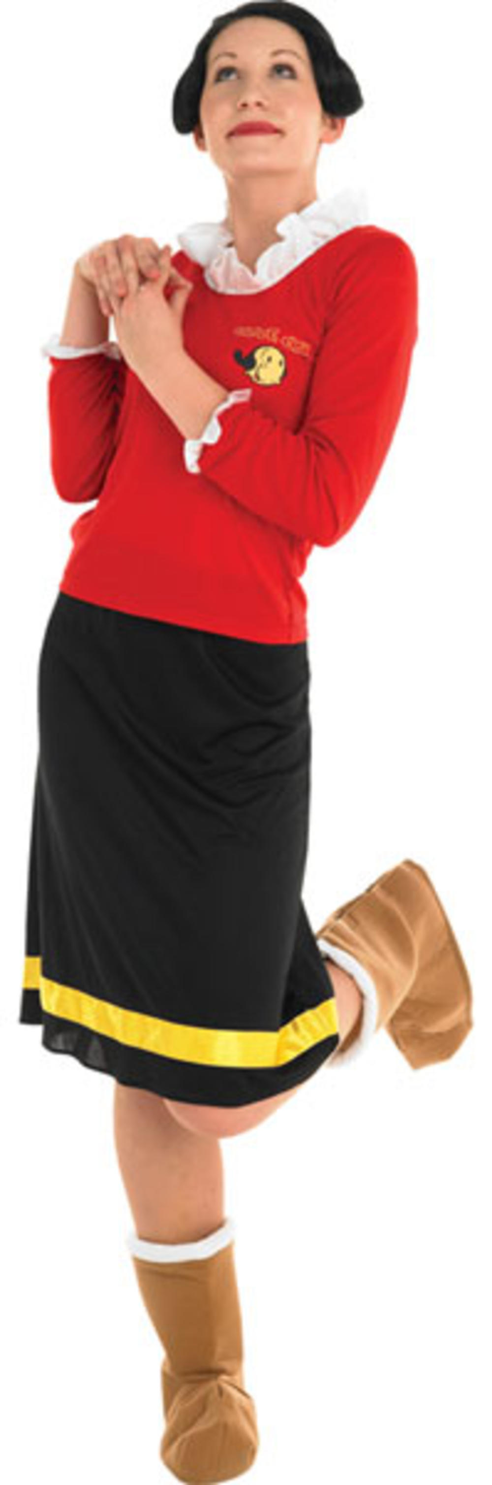Olive Oyl Ladies Fancy Dress Popeye 80s Cartoon Womens Adults Costume Outfit New