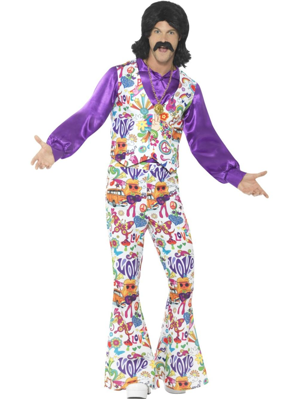 1960s & 1970s Groovy Hippie Mens Fancy Dress Psychedelic Hippy Adults Costume