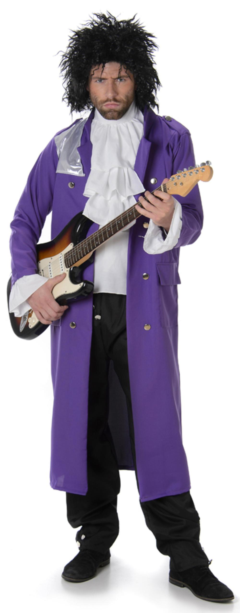 Prince Mens Fancy Dress  Pop Icon Celebrity Idol 80s Purple Rain Adults Costume