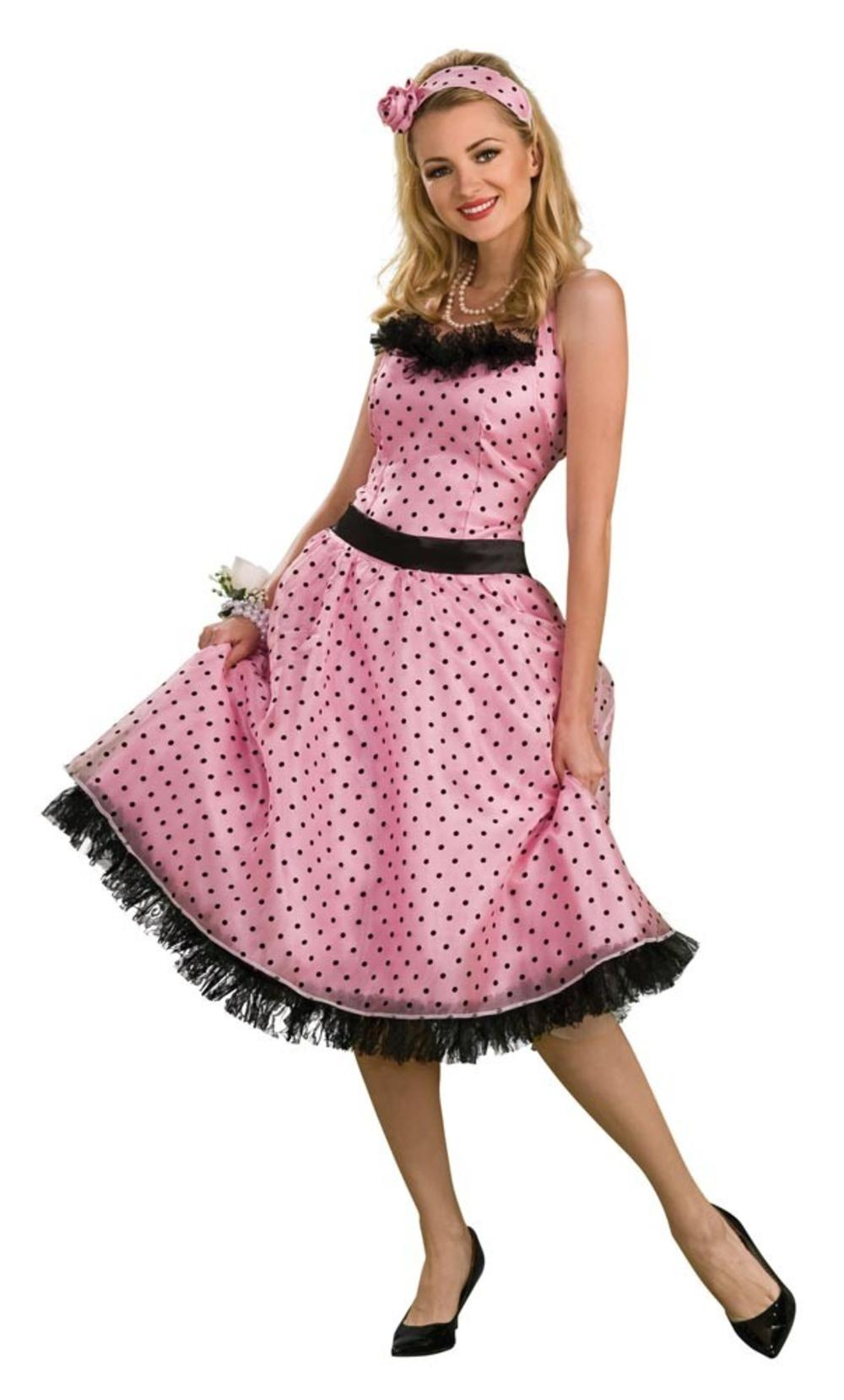 Ladies Polka Dot Prom 1950s Fancy Dress 50's Rock n Roll Womens Costume Outfit
