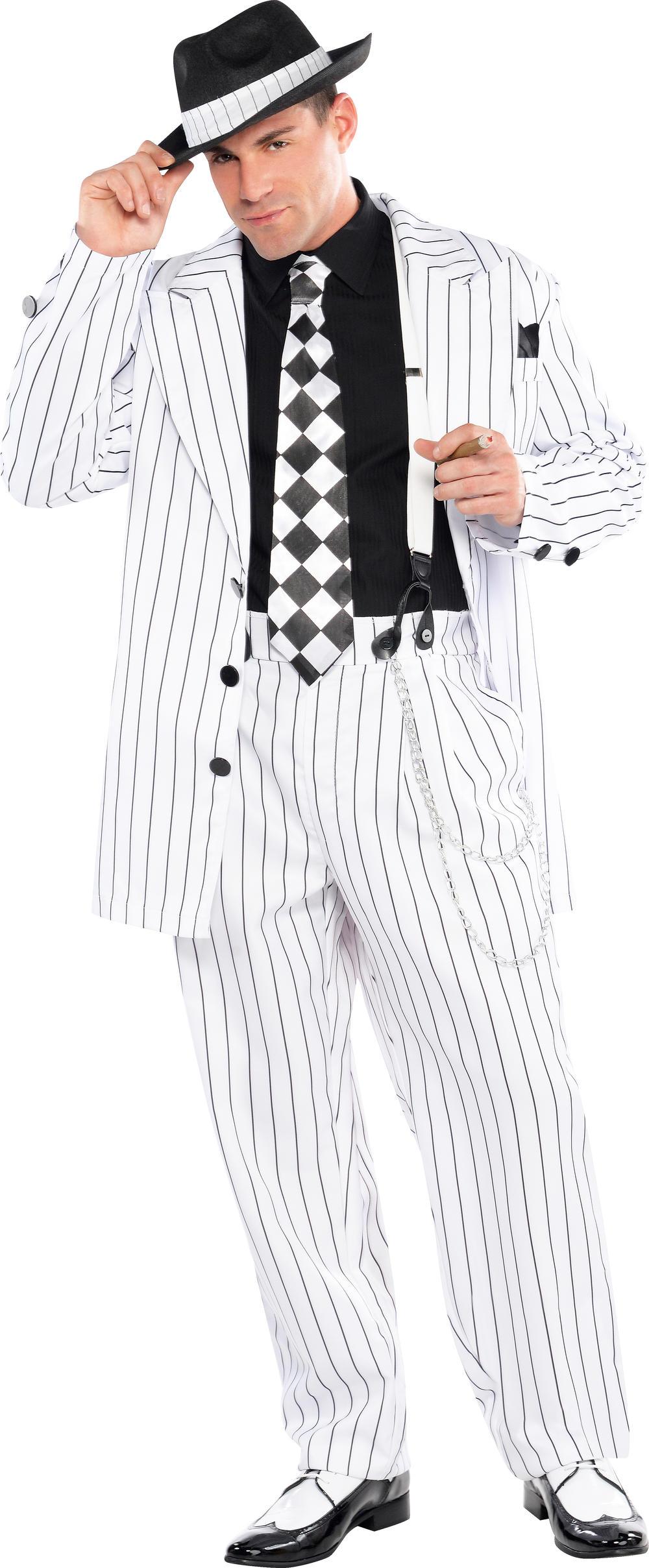 1920s Gangster + Hat Mens Fancy Dress 20s Mafia Charleston Gang Adults Costume