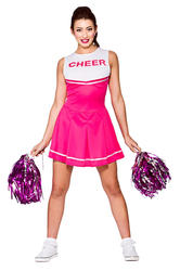 Pink High School Cheerleader Ladies Fancy Dress Sports Womens Adults Costume