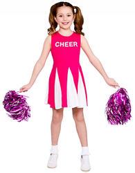 Pink Cheerleader Girls Fancy Dress School Days Musical Childrens Kids Costume