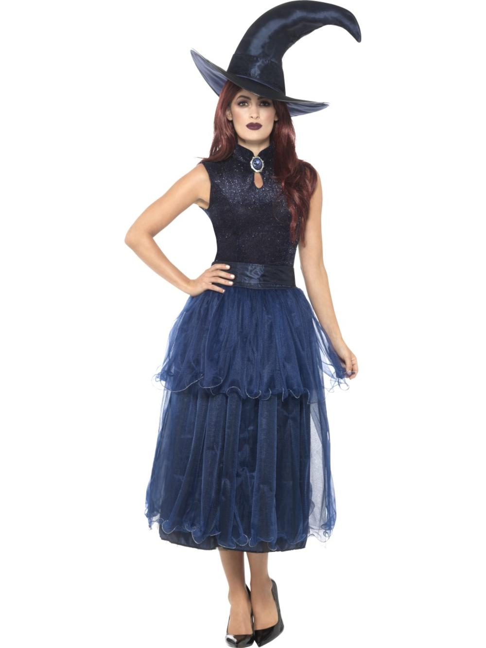 Deluxe Midnight Witch Ladies Fancy Dress Gothic Blue Halloween Adults Costume