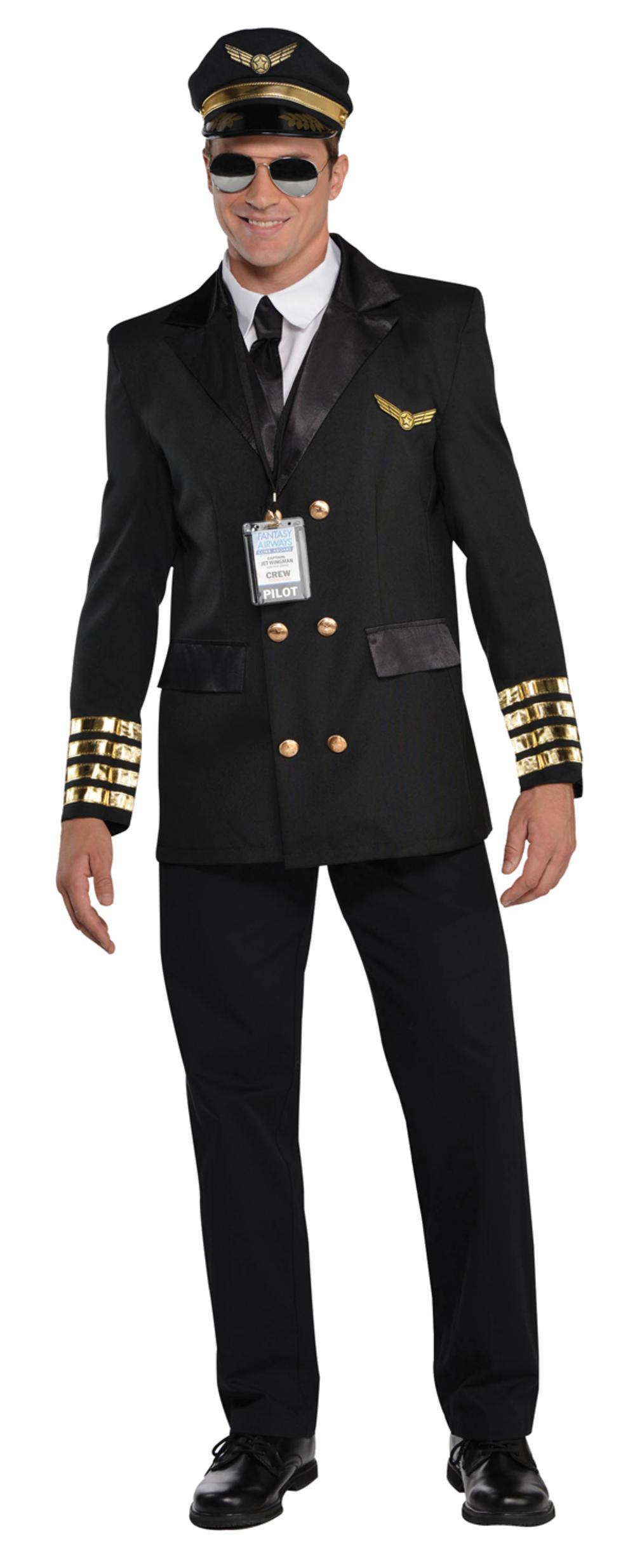 Captain Pilot Mens Fancy Dress Airline Occupation Uniform Adults Costume Outfit