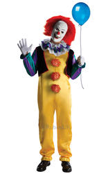 IT Pennywise Clown + Wig Mens Fancy Dress Halloween Horror Adults Costume Outfit