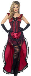 Wild Western Brothel Babe Ladies Fancy Dress Saloon Can Can Adults Costume