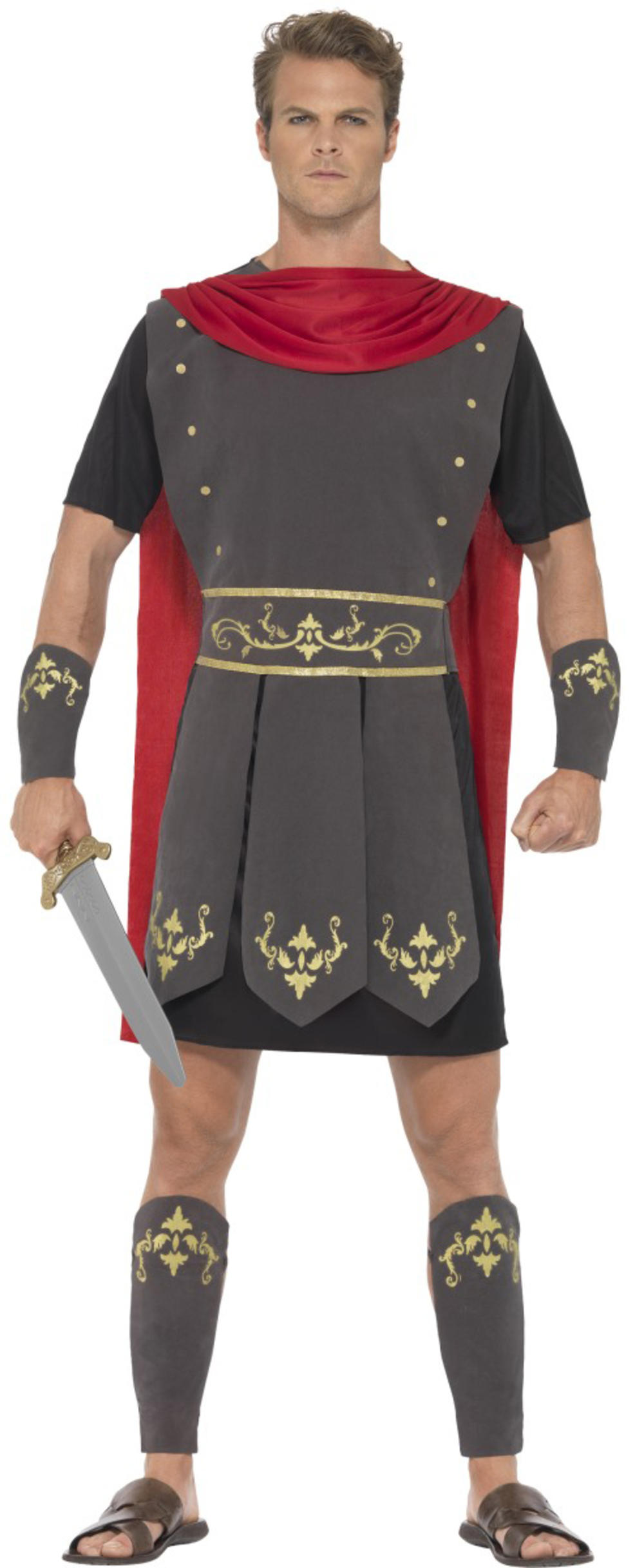 Roman Gladiator Mens Fancy Dress Ancient Greek Warrior Soldier Adult Costume New