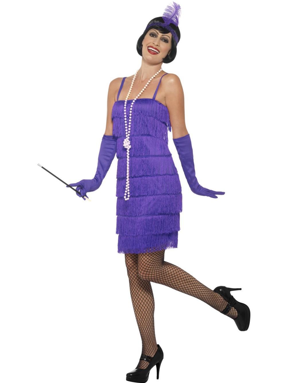 Purple Flapper Ladies Fancy Dress 1920s 20s Jazz Charleston Womens Adult Costume