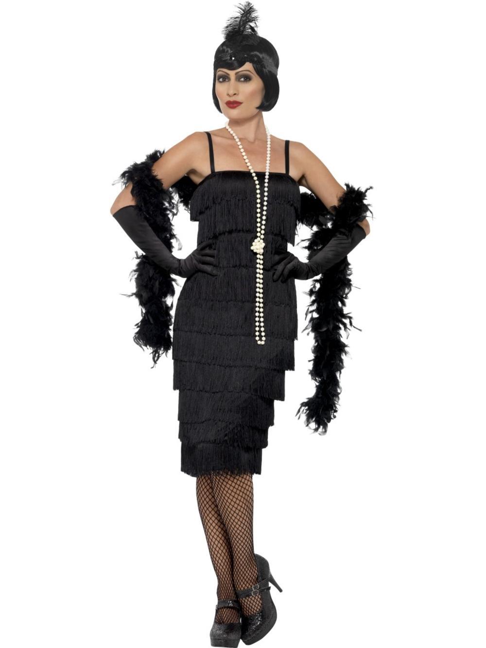 Black Flapper Ladies Fancy Dress 20s Charleston Jazz Dance Womens Adults Costume