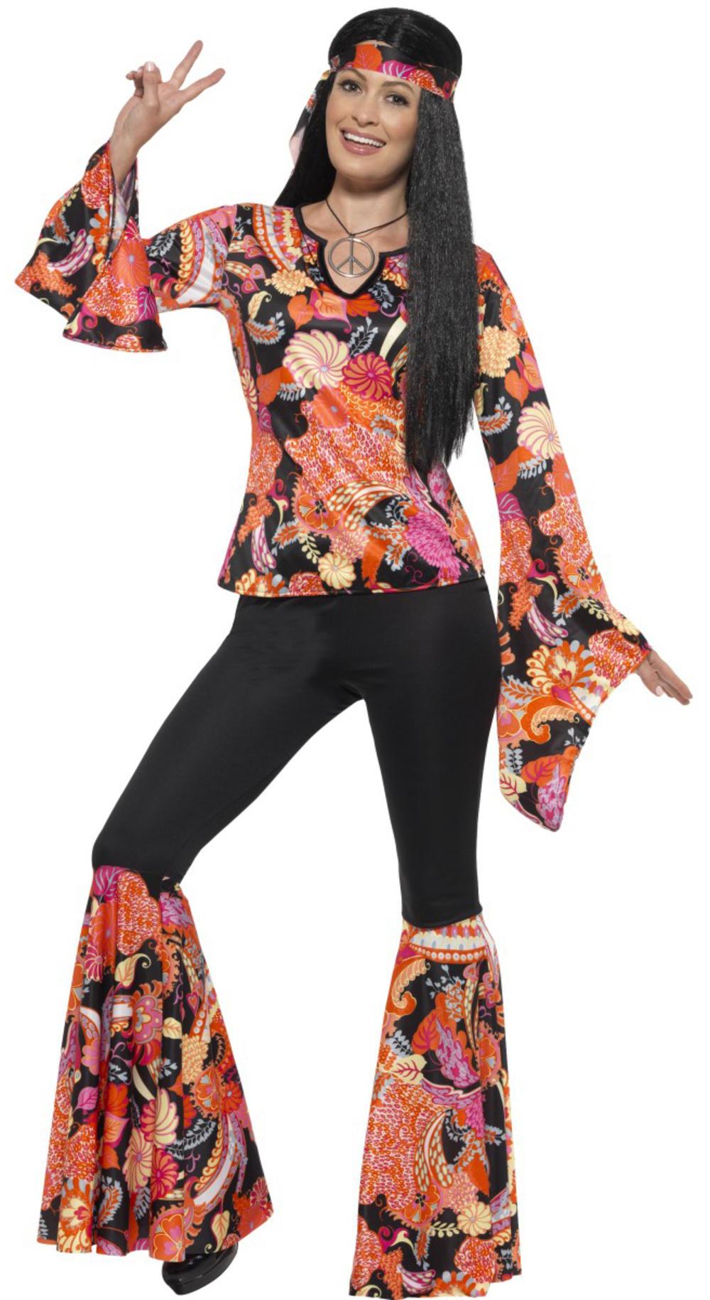 60s Hippie Ladies Fancy Dress 70s Hippy Groovy Peace Hippie Womens Adult Costume