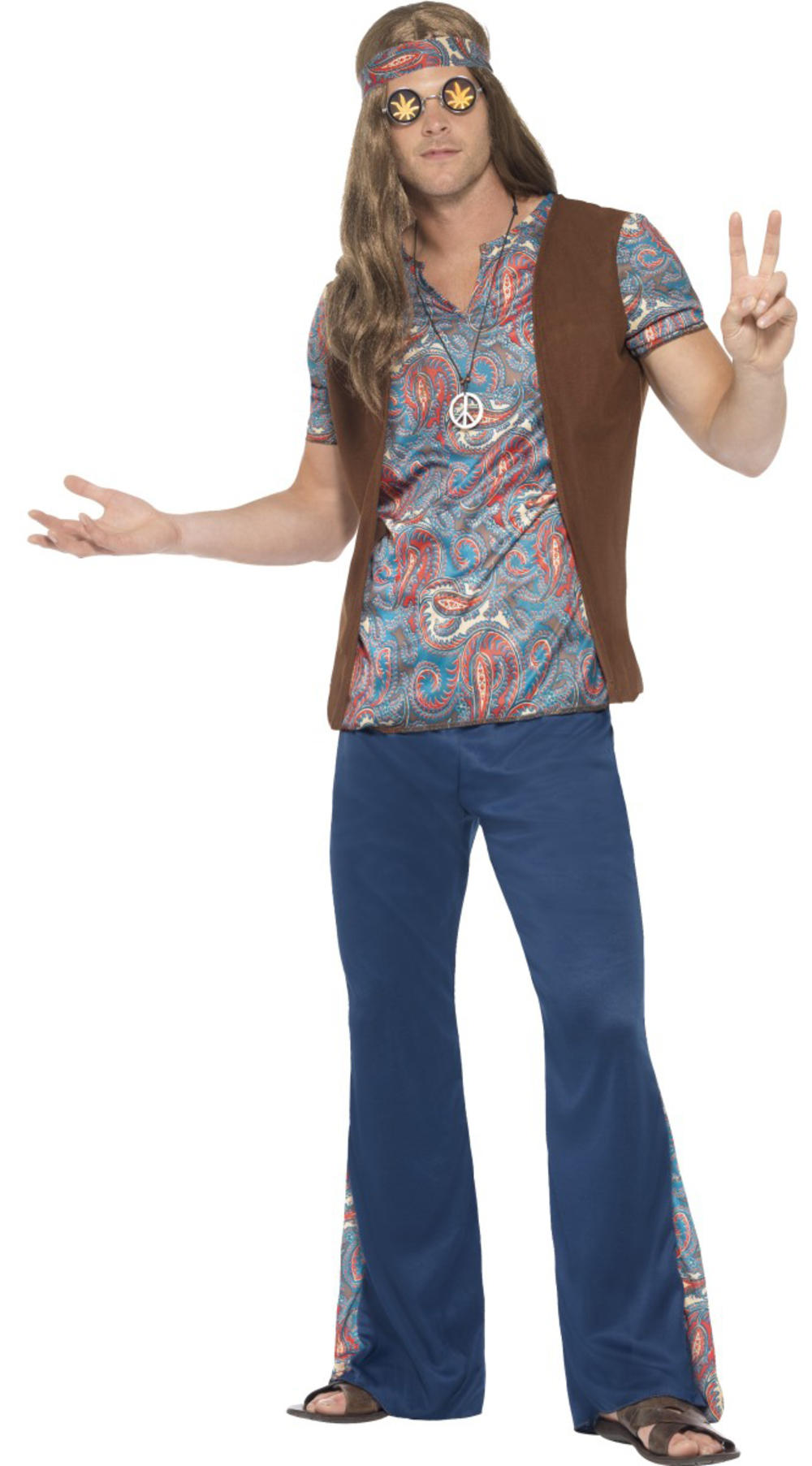 Hippie Mens Fancy Dress 70s 60s Groovy Psychedelic Peace Hippy Adults Costume
