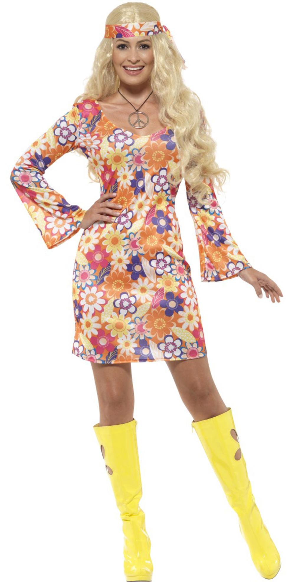 Flower Power Hippie Ladies Fancy Dress 60s 70s Groovy Hippy Adult Womens Costume