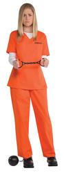 Orange Inmate Uniform Ladies Fancy Dress Criminal Convict Prisoner Adult Costume