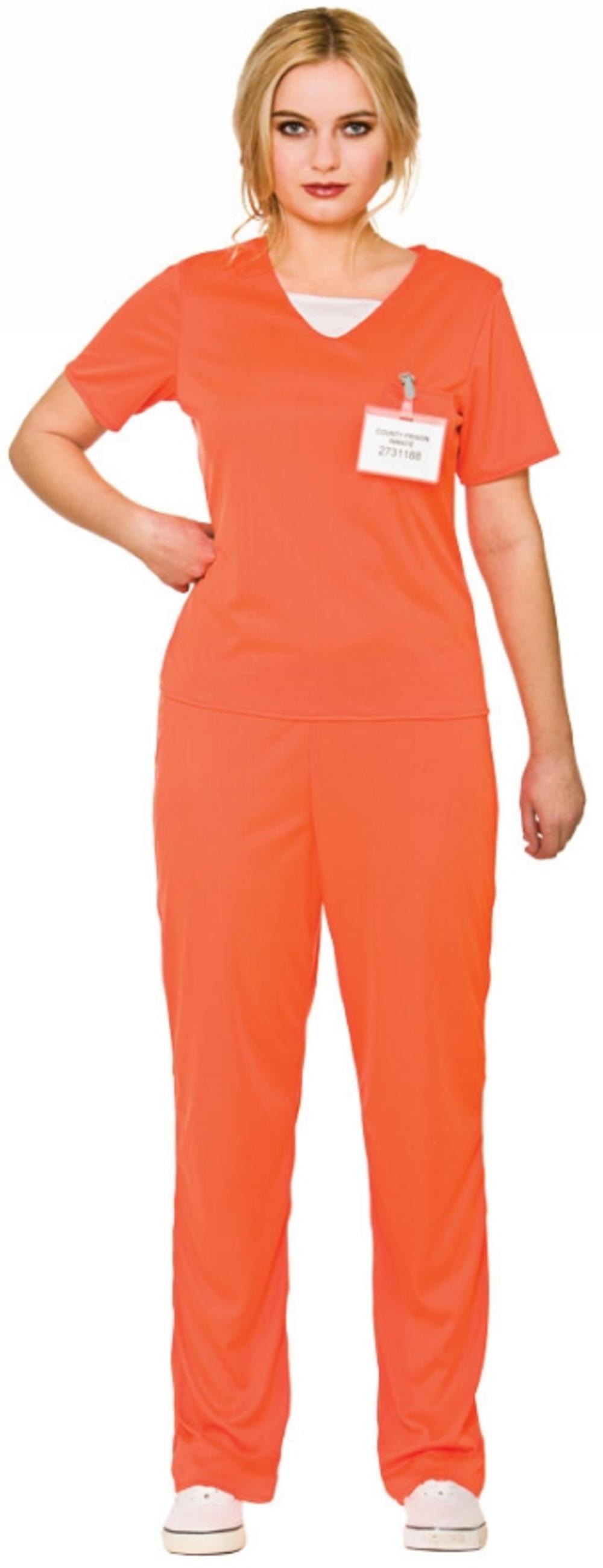 Orange Convict Ladies Fancy Dress Prisoner Uniform Adults Womens Costume Outfit