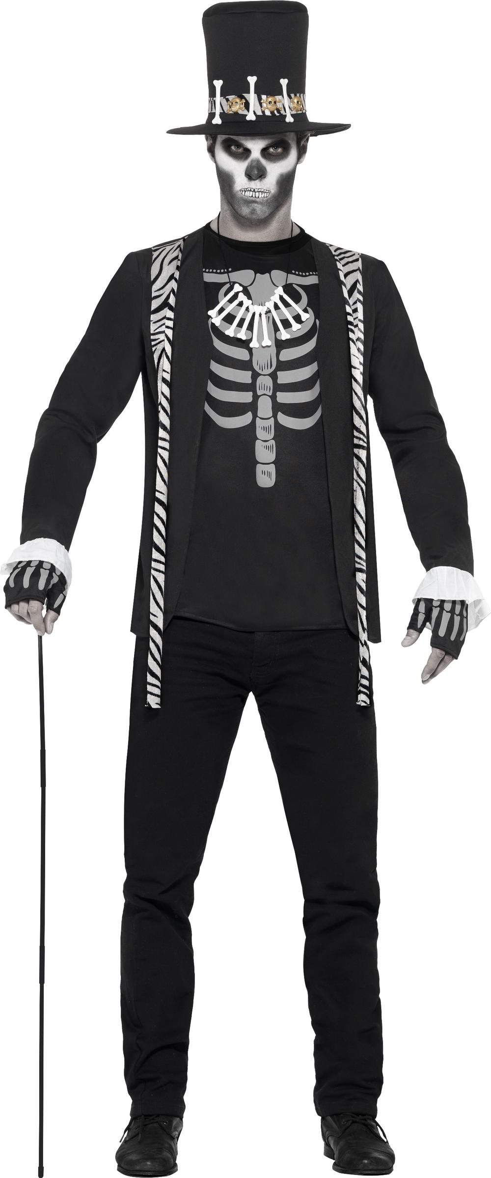 Day of the Dead Witch Doctor Mens Fancy Dress Halloween Skeleton Adults Costume