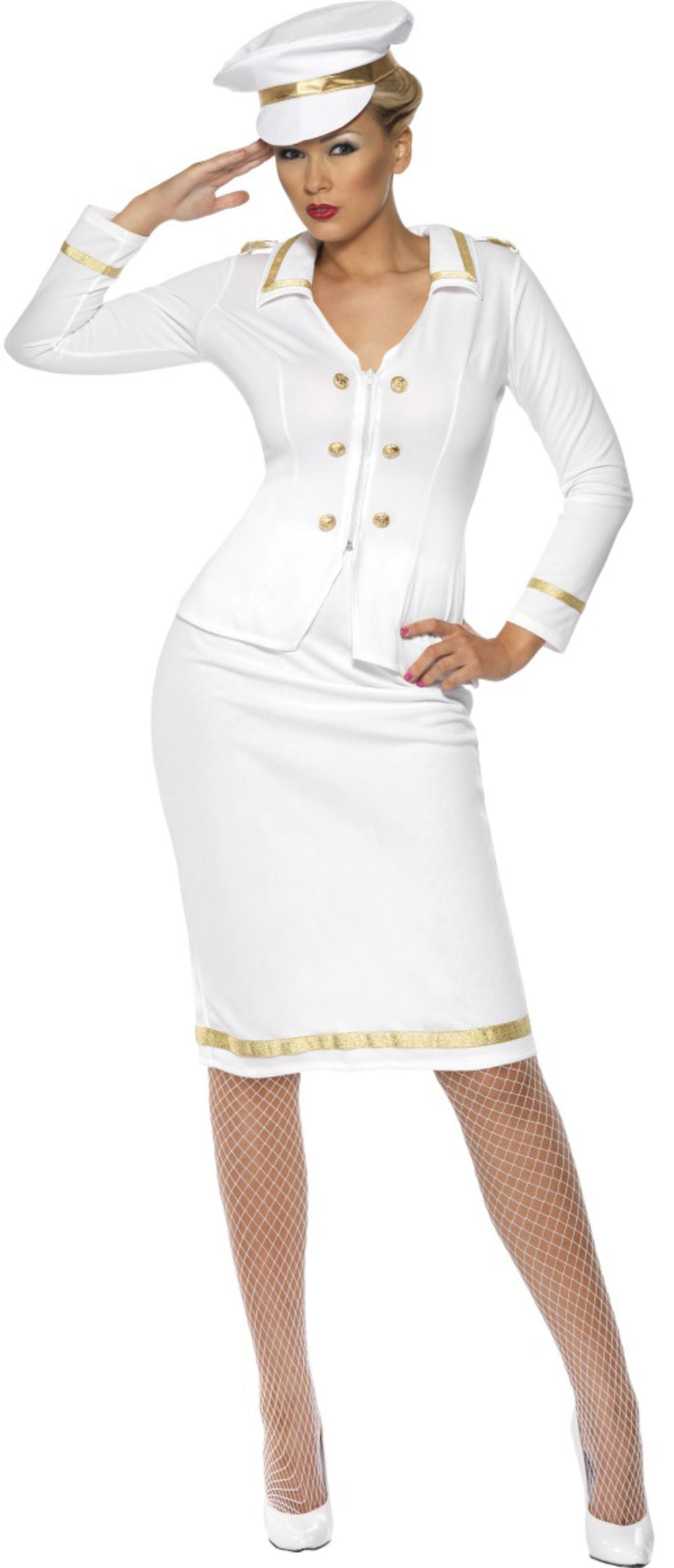 Officer's Mate Ladies Sailor Captain Fancy Dress Womens Navy Military Costume