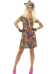 80's Party Animal Ladies Fancy Dress Eighties Neon Retro 1980s Womens Costume