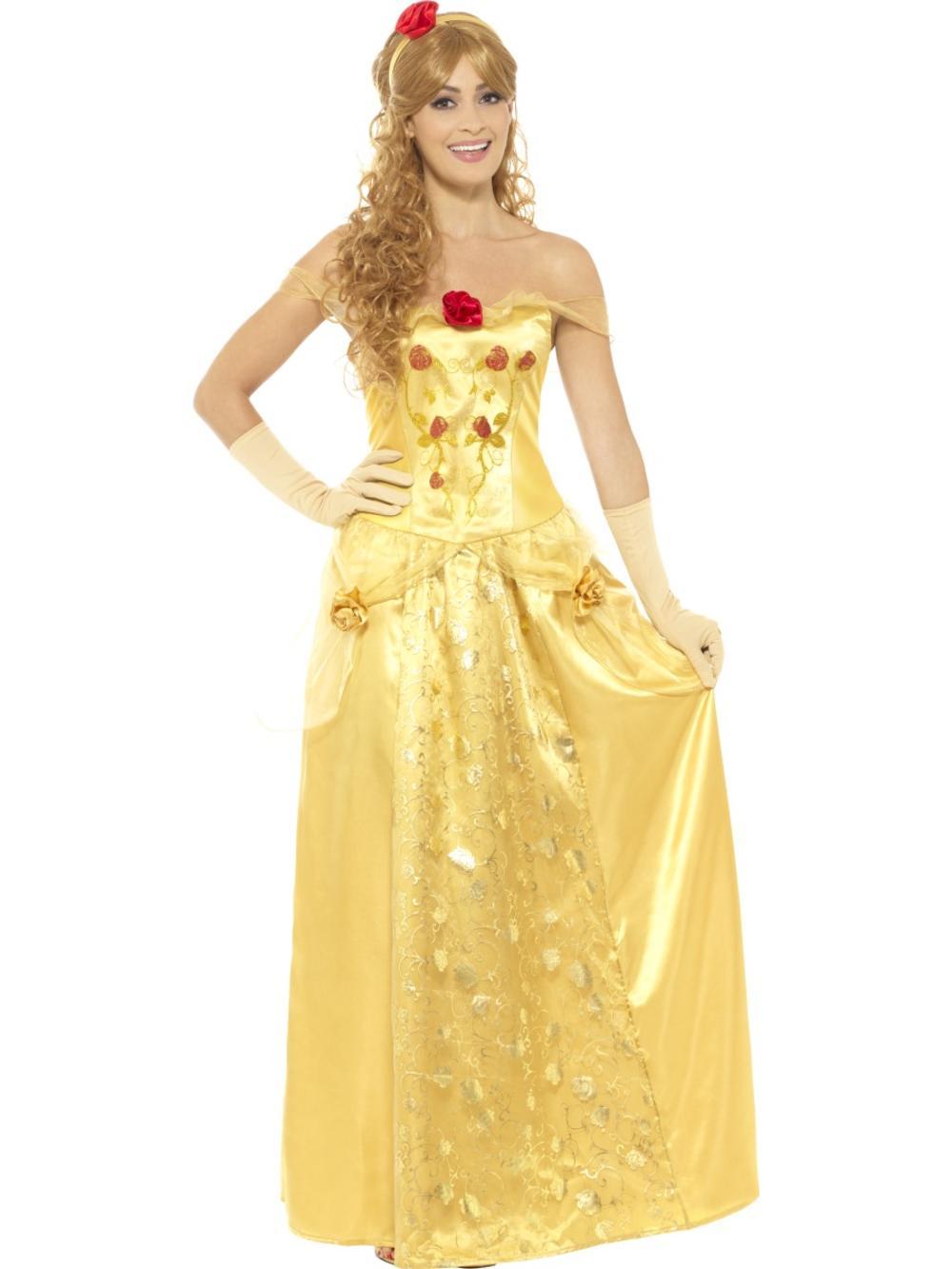 Golden Beauty Princess Ladies Fancy Dress Belle Fairytale Book Day Adult Costume