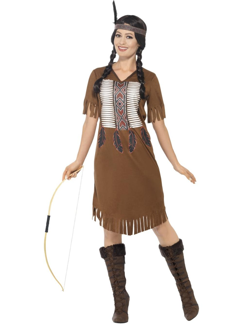 Native American Ladies Fancy Dress Red Indian Warrior Princess Womens Costume