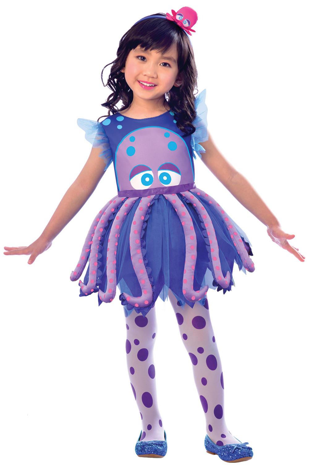 Octopus Girls Fancy Dress Sea Animal Childrens Kids Halloween Costume Outfit