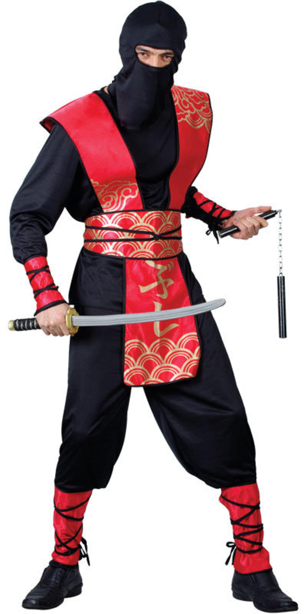 Ninja Warrior Master Mens Fancy Dress National Japanese Samuari Adults Costume