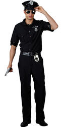 Police Man Cop Mens Fancy Dress Uniform Terminator 80s Adults Costume Outfit New