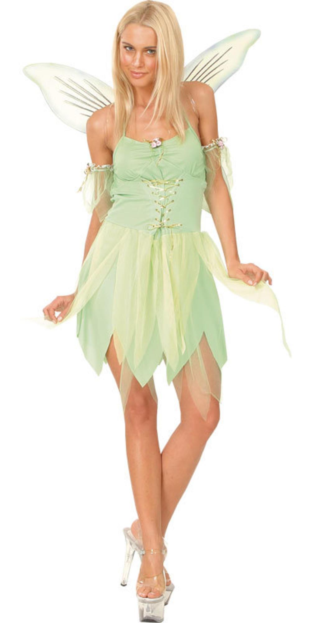 Tinkerbell Fairy + Wings Ladies Fancy Dress Fairytale Neverland Womens Costume