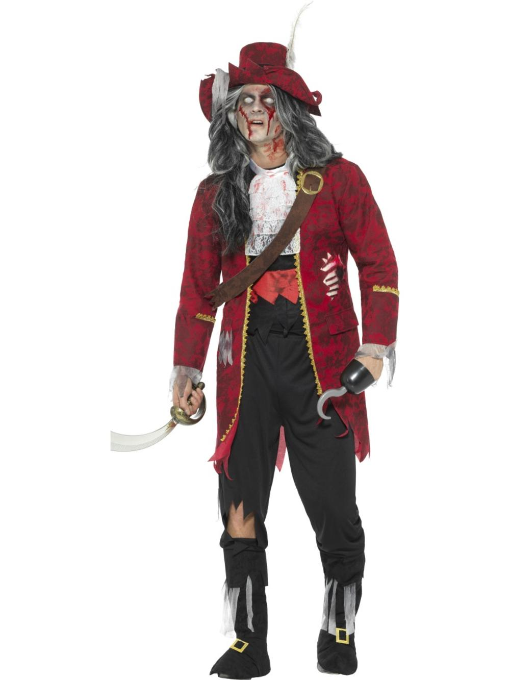 Deluxe Zombie Pirate Captain Mens Fancy Dress Undead Halloween Adults Costume