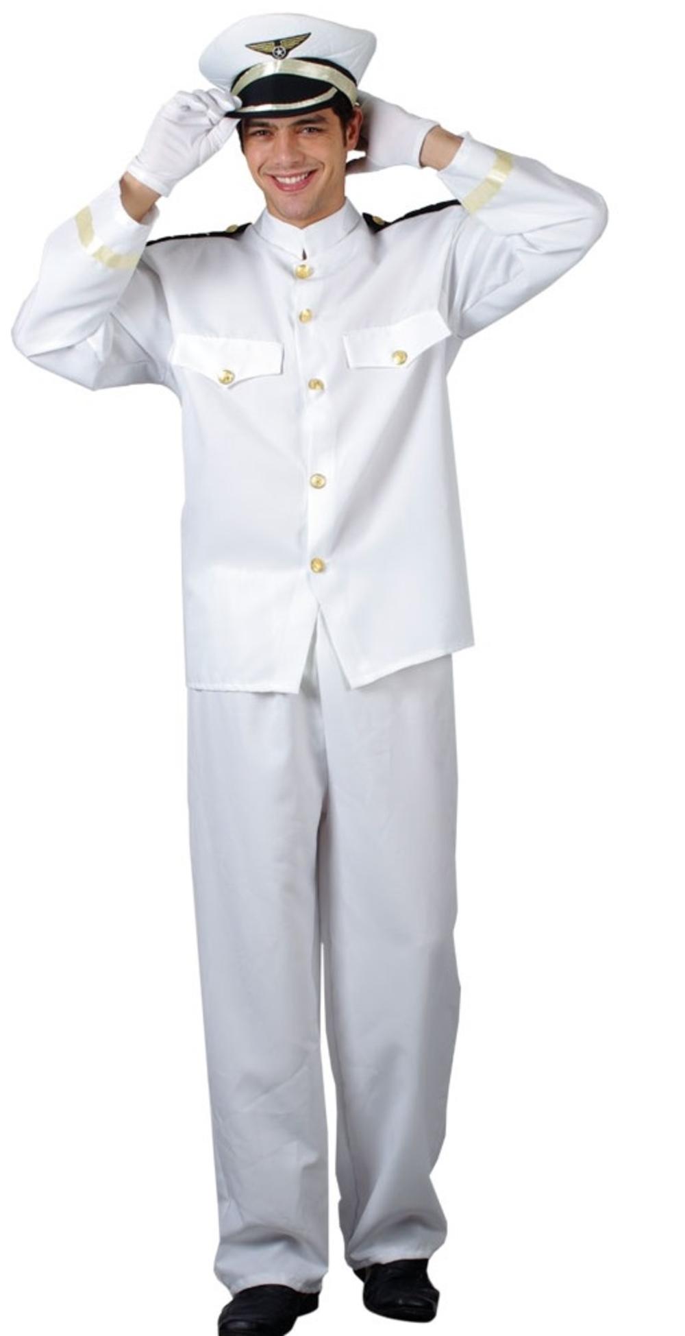 Naval Officer Uniform + Hat Mens Fancy Dress Navy Sailor Costume Adults Outfit